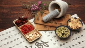 Chinese herbal medicine and Chinese calligraphy