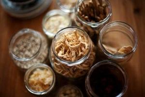 Overhead shot of jars of Chinese medicine